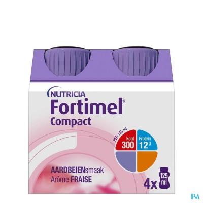 Fortimel Compact Aardbei Flesjes 4x125 ml