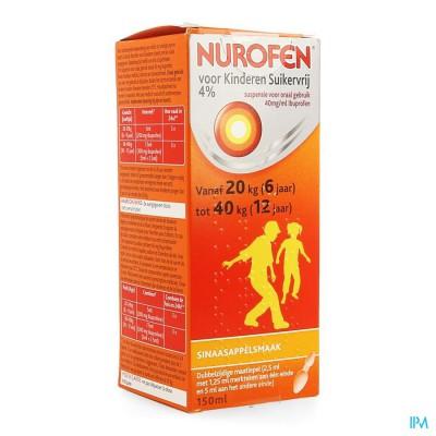 Nurofen Kind Sinaas 4% Susp Suikervrij 150ml