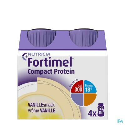 Fortimel Compact Protein Vanille Flesjes 4x125 ml