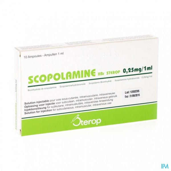 Scopolamine Hbr Amp 10x0,25mg/1ml
